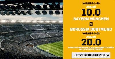 Betfair: Erhöhte Quoten zu FCB vs. BVB