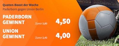 Betsson mit verbesserten Quoten auf Paderborn vs. Union Berlin