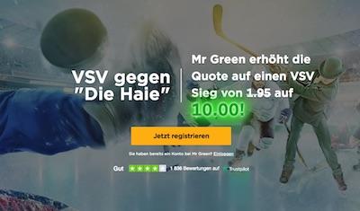 Mr Green EBEL Quotenboost für VSV vs. HC Innsbruck