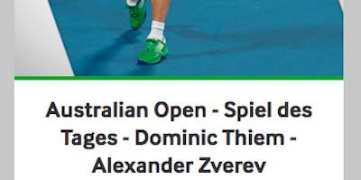 Betway Wettaktion zum Australian Open Halbfinale Zverev gegen Thiem