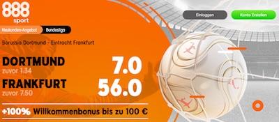 Mega Siegquoten bei 888sport zu BVB gegen Frankfurt