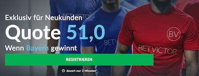 BetVictor boostet Bayern Quote gegen Paderborn auf 51.0