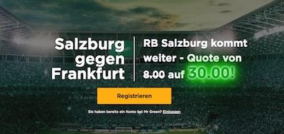 Quotenboost bei Mr Green auf Salzburg kommt gegen Frankfurt weiter