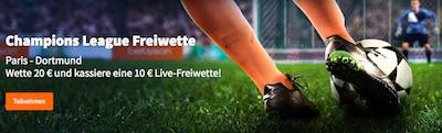 Betsson Live-Freebet für PSG vs. BVB für Pre-Live-Wette