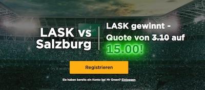 Mr Green Quotenboost auf LASK gegen Salzburg