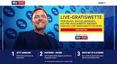 Sky Bet Live Freiwette BVB FCB wetten