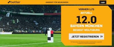 Betfair Bayern besiegt Wolfsburg erhöhte Quote wetten