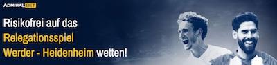Bei Admiralbet ohne Risiko auf Werder Bremen vs. 1. FC Heidenheim wetten