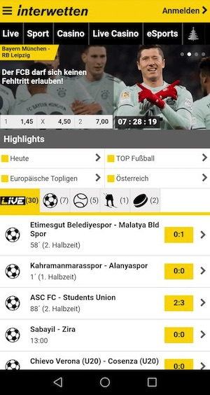 Screenshot der Interwetten Wett App