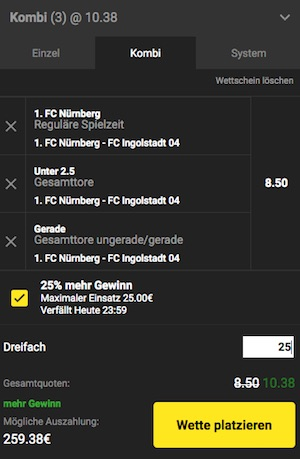 Unibet Nürnberg vs. Ingolstadt Wettschein inklusive Profit Boost