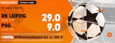 888sport Quotenboost zu RB Leipzig gegen PSG