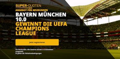 Super Quote auf Bayern gewinnt die CL bei Betfair