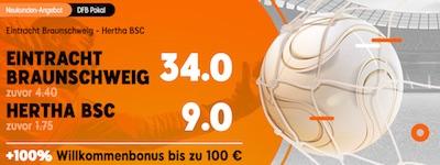 888sport Quotenboost auf Braunschweig - Hertha, Rostock - Stuttgart, Mannheim - Freiburg