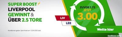 Quote 3.0 auf Liverpool schlägt Leeds + über 2,5 Tore (Betway)