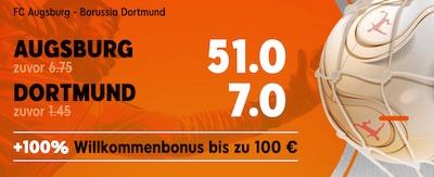 888sport Mega Wettquoten zu Augsburg vs BVB