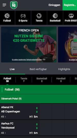 Screenshot der Bet90 Sportwetten App