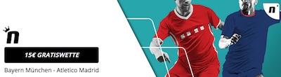 Novibet Gratiswetten zum Champions League Duell Bayern gegen Atletico