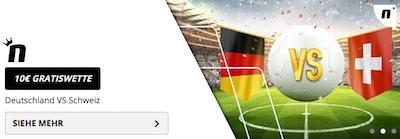 Novibet bietet 10 Euro Gratiswette zu Deutschland vs. Schweiz
