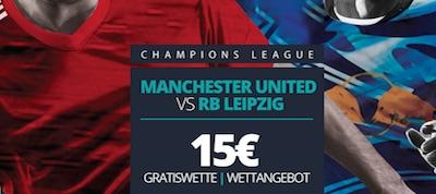 Novibet bietet eine 15 Euro Freiwette zu ManUnited vs. RB Leipzig