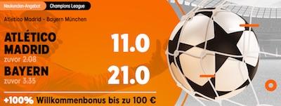 888sport Odds Boost auf das CL-Gruppenspiel Atletico Madrid vs Bayern München