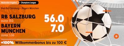 888sport Quotenboost auf das CL-Duell RB Salzburg gegen Bayern München
