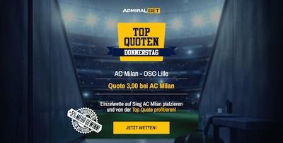 Admiralbet AC Milan Lille Europa League verbesserte Quote wetten Admiral