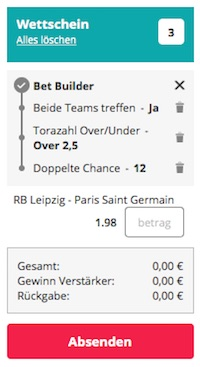 Novibet Bet Builder Wette zu RB Leipzig vs. PSG