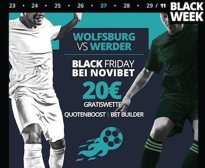 Novibet Mega Angebot zu Wolfsburg vs. Werder am Black Friday 2020