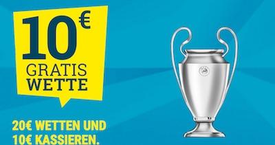 10 Euro Freebet von sportwetten.de zum 3. Champions-League-Spieltag