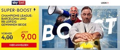 Sky Bet Super Boost Quote Barcelona Leipzig wetten