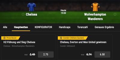 Bwin Chelsea Wolves erhöhte Quoten Thomas Tuchel Debüt wetten