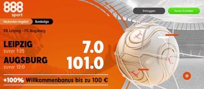 888sport erhöhte Quoten zu Bundesliga Spiel Leipzig Augsburg