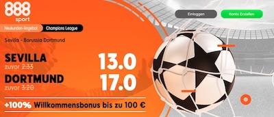 Erhöhte 888sport Quoten zu Sevilla Dortmund