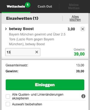 Betway Superboost zur Champions League Lazio Bayern