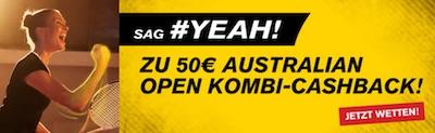 Interwetten Cashback Angebot auf Australian Open Kombiwetten 2021