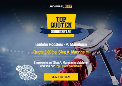 Top Quoten Donnerstag DEL Mannheim ADMIRALbet