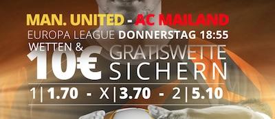 10 EUR Freiwette von Novibet zu Manchester United  AC Mailand
