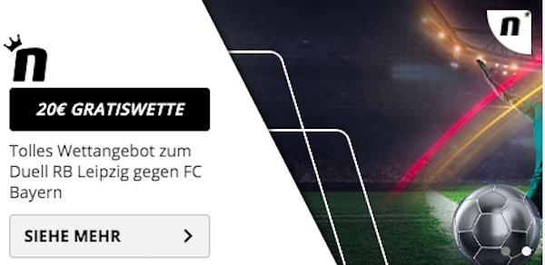 RB gegen Bayern Novibet 20 Euro