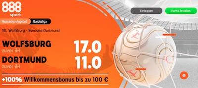 888sport pusht die Quoten zu Wolfsburg - Dortmund