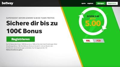 Betway Super Boost Quote Spitzenspiel Bundesliga
