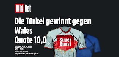 BildBet Türkei besiegt Wales Boost Quote UEFA EURO 2020 wetten