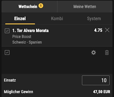 Morata erzielt das erste Tor - Bwin Price Boost