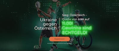 Mr Green Ukraine Österreich erhöhte Quote UEFA Euro 2020 Wetten
