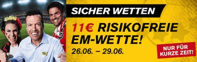 11€ risikofrei zum EM-Achtelfinale bei Interwetten