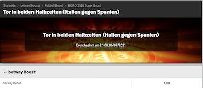 Betway Boost zum Halbfinale Italien Spanien