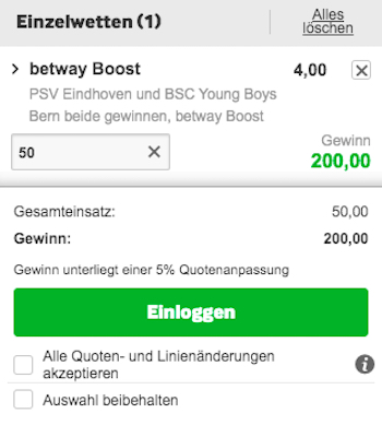 PSV Young Boys Betway