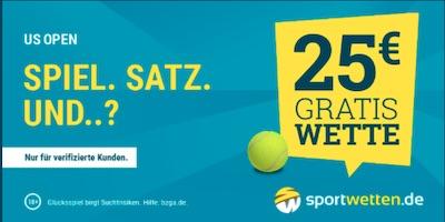 Sicher dir eine 25€ Freiwette zu den US Open bei sportwetten.de